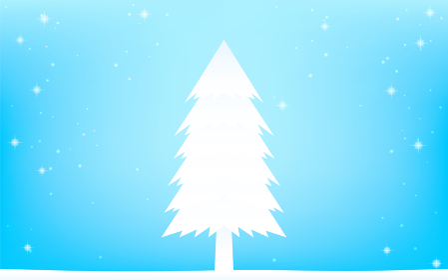 ホワイトクリスマス、白いモミの木とキラキラした雪の降る背景