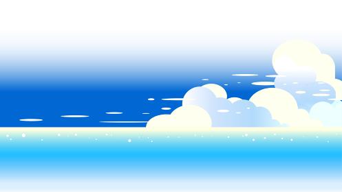 青い海と夏空の積乱雲16対9の画面