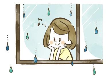雨の日に窓の外を眺める女性 水彩