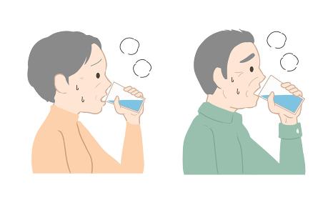 水分補給をする 高齢者(線無し)