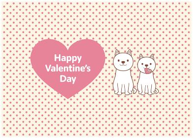 立ち耳犬2匹とバレンタインのイラスト