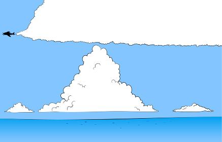 夏の青空と入道雲と海のイラスト 飛行機雲の吹きだし