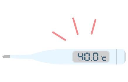 40.0度を示す体温計のイラスト