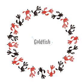 赤と黒の金魚のリース、暑中見舞いの夏素材