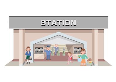 駅に入っていく母親と姉弟、女子校生