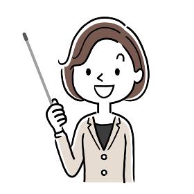ベクターイラスト素材:説明をする女性、ビジネスウーマン