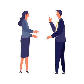 話し合う男女のビジネスマン