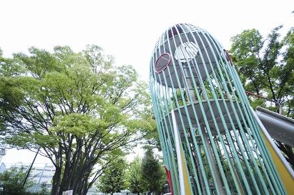 代々木大山公園のケヤキと滑り台