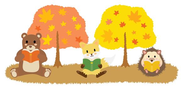 読書の秋に本を読む動物たち