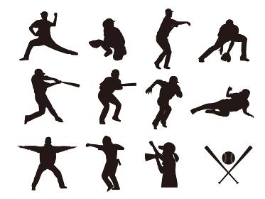 野球選手のシルエットイラスト素材