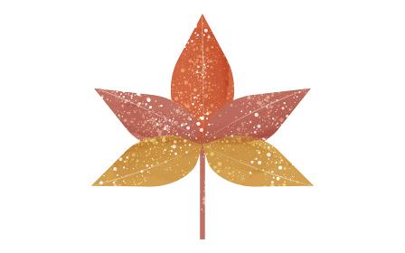紅葉した秋のもみじ、絵の具跳ねのある透明水彩風イラスト