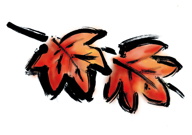 和風手描きイラスト素材 フレーム 飾り 紅葉 もみじ 葉っぱ