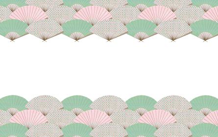 和柄デザイン ピンク×グリーン 扇子の青海波のフレーム