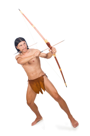 Native american in funny concept isolated on white