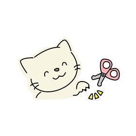 猫の爪切りのイラスト(黄色)