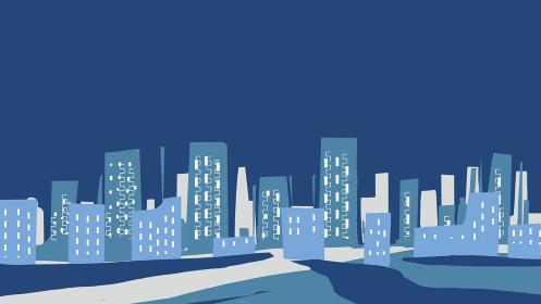 ビルが建ち並ぶ夜の風景の背景イラスト