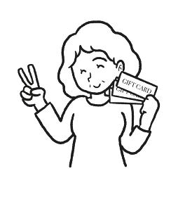 母の日にギフトカードを貰ったお母さんの線画イラスト
