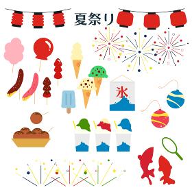 縁日・夏祭りイラストセット