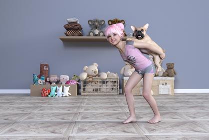 お団子ヘアの幼い女の子とフレンチブルドッグが熊のぬいぐるみがたくさんある子供部屋で遊ぶ