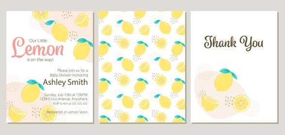 レモンテーマのベビーシャワー招待状、お礼状、パターンのセット