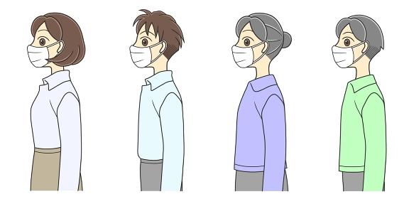 マスクを着けた横向きの男女4人
