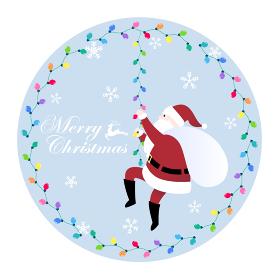 メリークリスマス ガーランドライトに登るサンタクロースのカード