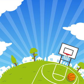 背景素材 /青空と草原(スポーツ・バスケットボール) 正方形バナー イラスト(テキストスペース)