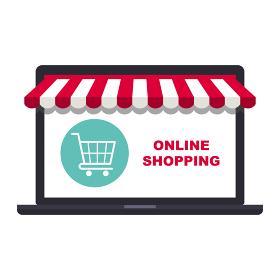 オンラインショップコンセプト ノートパソコンとショッピングカート