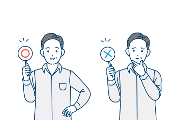 正解と間違いの棒を持つ中高年の男性 ミドル 〇×クイズ イラスト素材