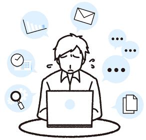 タスクがいっぱいで困っているパソコンで仕事をしている男性