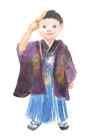 七五三で着物を着た男の子のイラスト