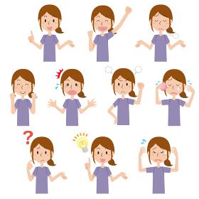 Tシャツ姿の女性の表情イラストセット