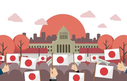 日本の国会議事堂と日の丸・日本国旗 正面イラスト / 日の出・朝焼け・夕方・夕焼け