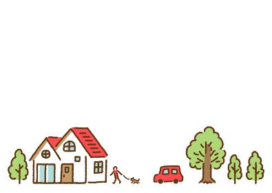 シンプルかわいい家と木のある街で犬の散歩をする人と車のイラスト