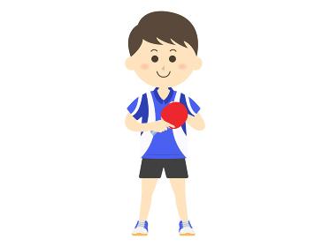 ユニフォームを着た男性卓球選手のイラスト