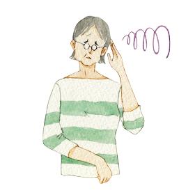 人物 女性 シニア 頭痛 うつ病 悩み 体調不良 水彩 イラスト