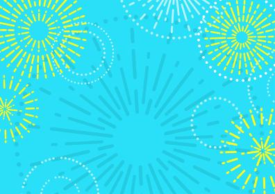 カラフルな花火のフレームイラスト(夏セールのバナー素材)