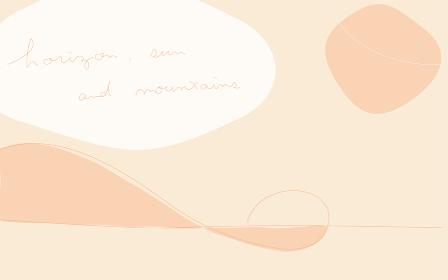 シンプルな線と図形のアブストラクト素材、山と太陽の風景イメージ