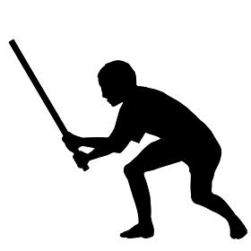 棒を持って身構える男性のシルエットのモノクロイラスト
