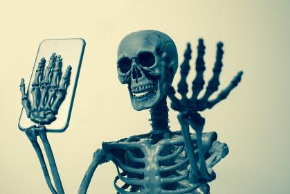 スマホを見る骸骨