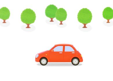 赤い車と樹木