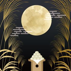 十五夜:うさぎとお団子とすすきと満月