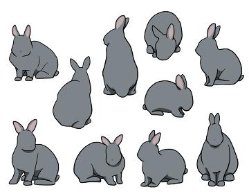 おすわりウサギ 短耳 ブルーセット
