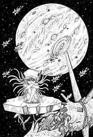 エイリアンと宇宙船の残骸