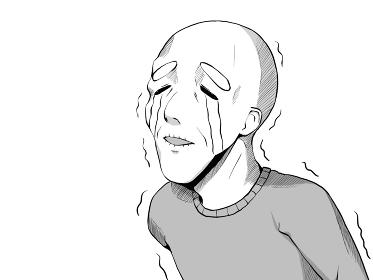 漫画風_悲しくて泣くおじいさん_横