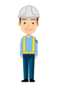 働く人交通誘導員ガードマン警備員のイラスト直立制服笑顔安全反射ベスト
