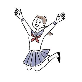 ジャンプ 喜ぶ 女の子 セーラー服 水彩 手描き