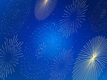 横から見た綺麗な花火と背景 花火大会 壁紙 イラスト素材