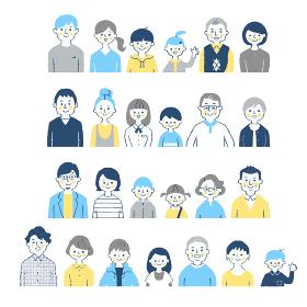 3世代家族 バストアップ 4組セット ブルー