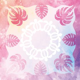 水彩画風ハワイアンキルトのパターン海亀ホヌとヤシの木|背景イラスト テクスチャ|夏のイメージ